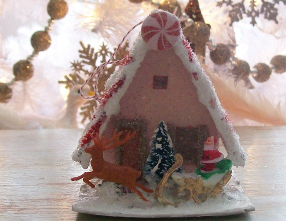Vintage Putz Style Christmas Glitter House Sugar Pink with Peppermint Candies Santa and his Sleigh