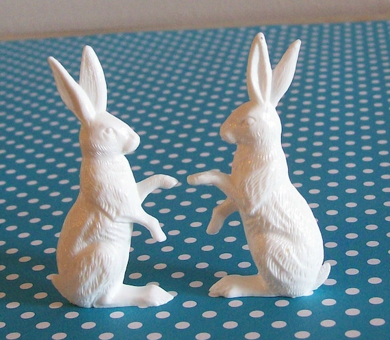 BUY 3 Get the 4th FREE / 6 Large Vintage German Miniature White Rabbits Sugar Eggs Terrariums  Dioramas Ornaments Alice in Wonderland