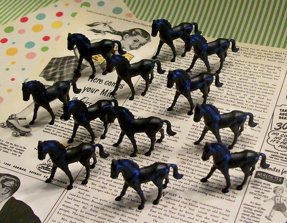 SALE Buy 3 Get 1 FREE Set of 12 Vintage Kitsch Miniature Black Horses New Old Stock Terrarium Cake Toppers Diorama