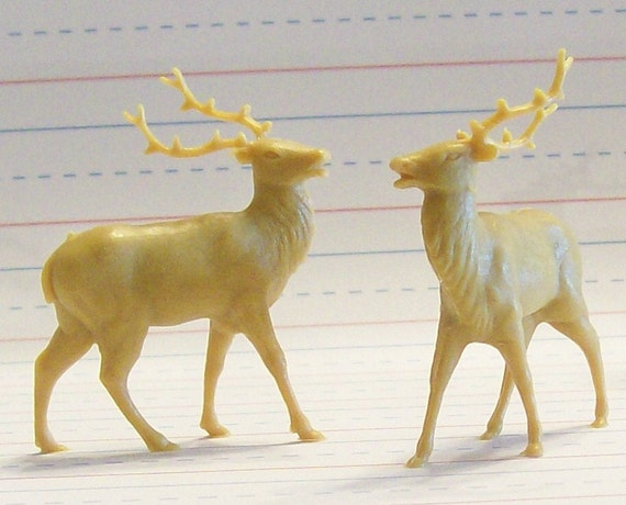 Buy 3 get one FREE /Set of 6  Vintage Italian Miniature Reindeer Elk Deer New Old Stock Terrariums Dioramas Ornaments