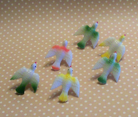 ONLY 3 Left  / BUY 3 Get One FREE / Set of 6 Vintage German Miniature Flying Birds New Old Stock  Putz Style Dioramas Terrarium Ornaments