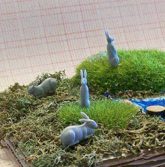 BUY 3 Get the 4th FREE /  6 Teeny Tiny Vintage Kitsch Gray Bunny Rabbits for Terrariums Dioramas Cake Toppers