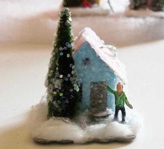 Vintage Putz Style Tiny Miniature Blue Glitter Sugar House Shabby Christmas Village Ornament Tiny  Bottle Brush Tree