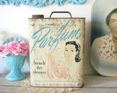 Antique Tin Display Canister Parfum French Dry Cleaner
