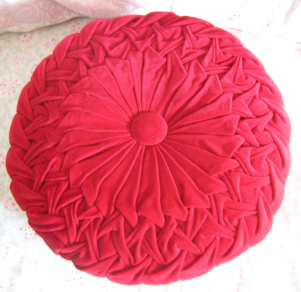 SALE Vintage Velvet Red Ruched Round Pillow