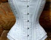 Perfect Wedding Lingerie- White Corset with white cotton trim Custom Made
