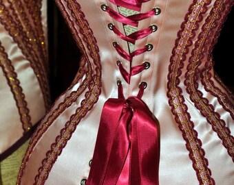 romantic edwardian circus corset peach satin custom made to measure