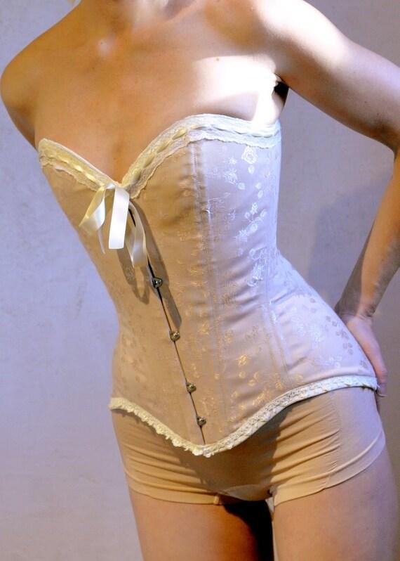 Wedding Corset- Classic Edwardian Nude Brocade