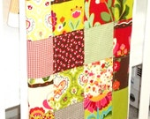 Baby Blanket Modern Patchwork Infant Crib Blanket with Oops A Daisy Collection by Keiki for Moda Fabrics - Soft flannel back