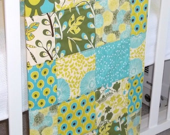 Modern Patchwork Baby Blanket Infant Crib Blanket made with Sugar Pop Fabric Collection by Liz Scott for Moda - Flannel back