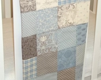 Modern Patchwork Baby Blanket (Blue Boy)  Infant Crib Blanket with Puttin on the Ritz by Bunny Hill for Moda - Flannel Back