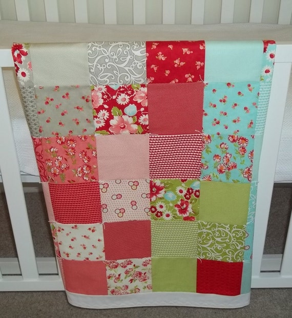 Baby Blanket Modern Patchwork Infant Crib Blanket with the Ruby Collection by Bonnie & Camille for Moda Fabrics - Soft flannel back