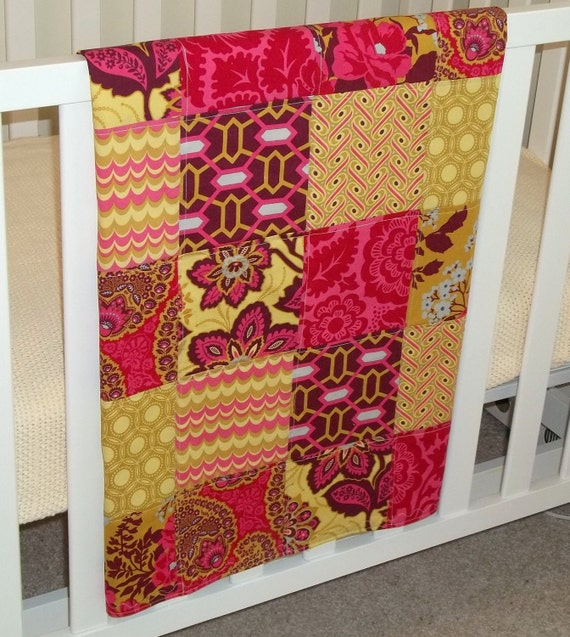 Modern Patchwork Baby Blanket 50% Off Sale Infant Blanket made w/Heirloom Ruby Collection by Joel Dewberry  Flannel Back READY TO SHIP