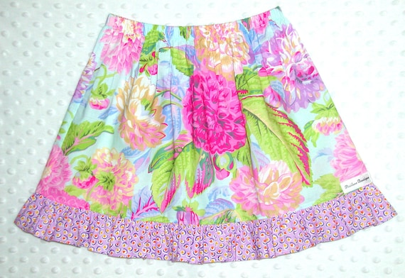 Clearance Sale Skirt baby toddler girl Large Floral in Purples, Pinks, Golds and Greens Size 5