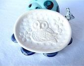 50% OFF  SALE Ceramic Owl Soap Dish in white
