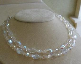 Vtg.Laguna(Signed)Aurora Borealis Crystal Necklace
