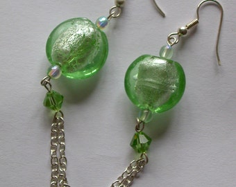 SALE 25% off Pale Green Murano glass and chain earrings -ready to ship with free gift bag!
