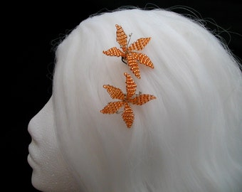 Lily hair pins, light orange- exotic mini fascinators bobby pins -retro style decorations -OOAK ready to ship