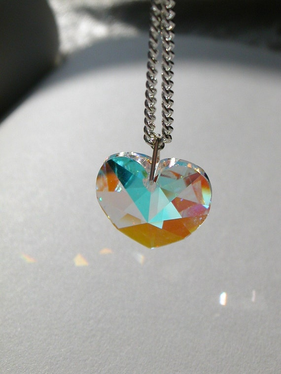 Swarovski heart pendant in light vitrail- ready to ship with free gift bag