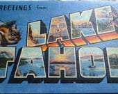 Accordion style vintage color postcard lake tahoe circa 1950s