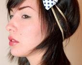 Handmade, nautical, gold elastic headband with girly, navy polka dot bow