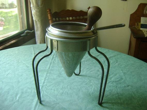 Vintage Metal Colander With Wood Pestle
