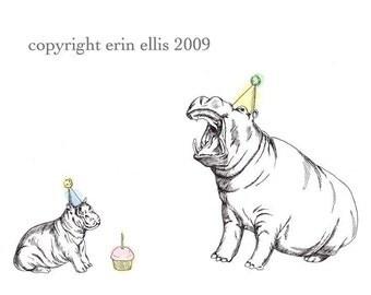Hippos 8x10 Print