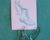 winged boot clear polymer rubber stamp set