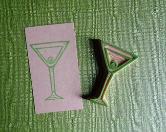martini hand carved rubber stamp