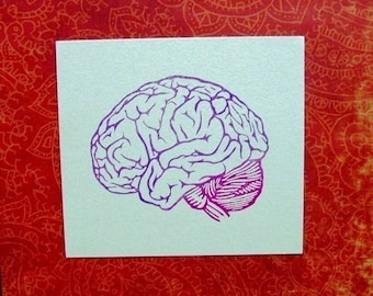anatomical brain hand carved rubber stamp