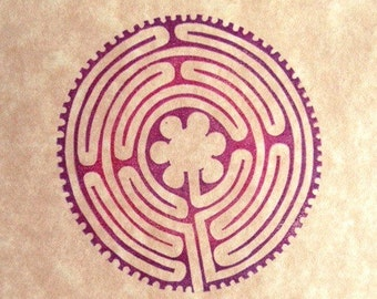 Chartres Labyrinth hand carved rubber stamp