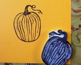 pumpkin hand carved rubber stamp