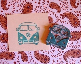 VW bus front hand carved stamp