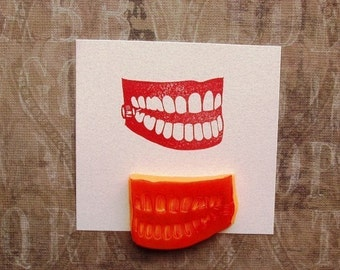 wind up chattering teeth hand carved rubber stamp