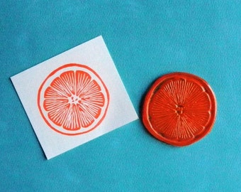 citrus slice clear polymer rubber stamp