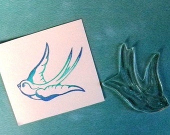 tattoo style swallow clear polymer rubber stamp
