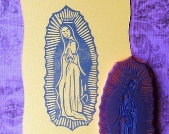Virgin of Guadalupe/Virgin Mary hand carved rubber stamp