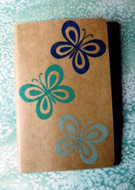 butterfly embossed hand stamped moleskine journal