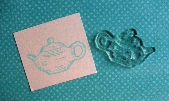 teapot clear polymer rubber stamp