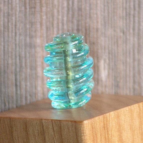 Handmade Glass Lampwork Focal Bead Aqua and Green Transparent Swirl