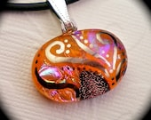 Autumn Growth - Orange dichroic fused glass pendant hand painted in genuine white gold