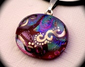 Enchant - Red dichroic glass pendant hand painted in genuine white gold