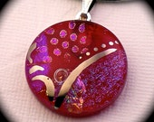 Check Mate - Red dichroic glass pendant hand painted in genuine white gold