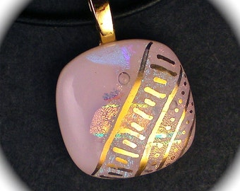 Delight - Pink dichroic fused glass pendant hand painted in 22k gold