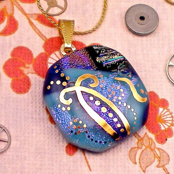 Midnight in the Garden - Blue on Blue dichroic fused glass pendant hand painted in 22k gold