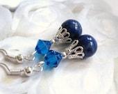 Blue Swarovski Crystal and Lapis Earrings