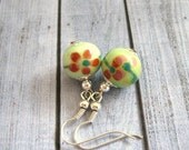 Chinese Porcelain Earrings, Pistachio Green