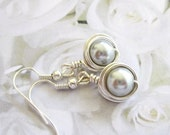 Silver Gray Pearls Wire Wrapped Earrings