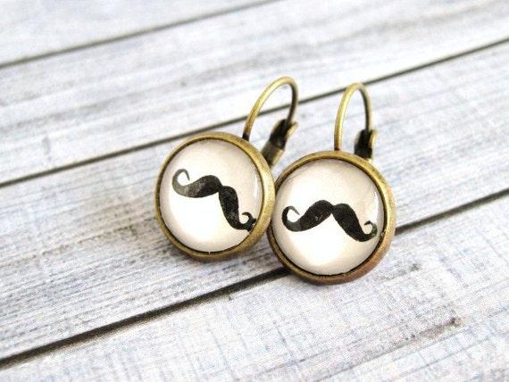 Moustache earrings, glass cab earrings