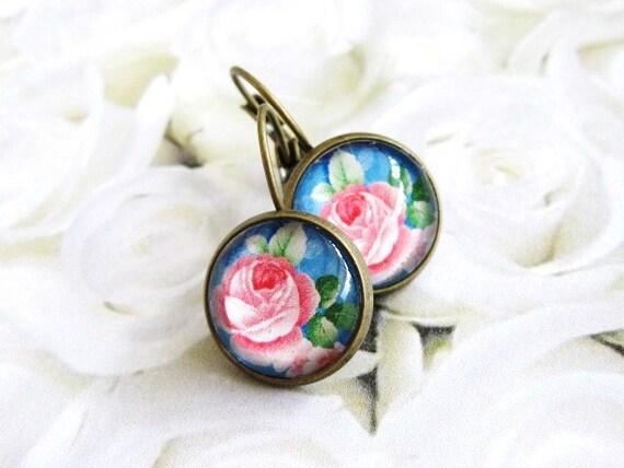 Glass dome earrings, vintage flower earrings